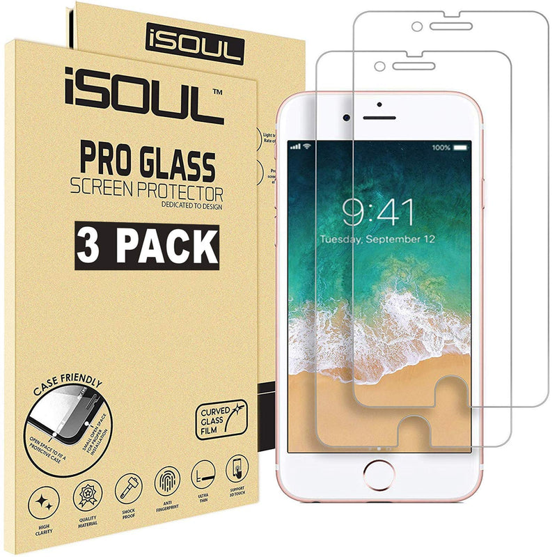 iSOUL 3 Pack For iPhone 6 6S 7 Screen Protector 4.7 Inch Anti-Shatter Film for Apple iPhone 7 Strong Tempered Glass 9H Hardness Crystal Clear 3D Touch Glass