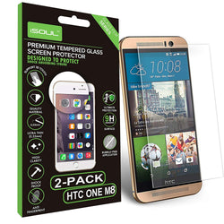 2x iSOUL Premium HTC One M8 Screen Protector Tempered Glass Ultra Slim-Screen Protector-TradeNRG UK
