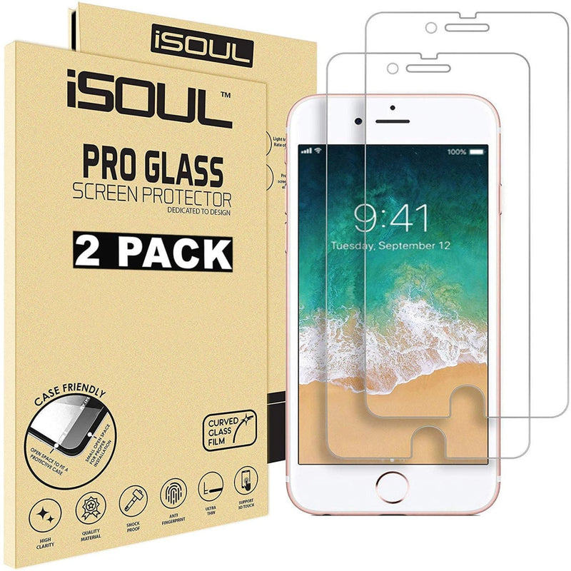 iSOUL 2 Pack Screen Protector For iPhone 6 6S 7 8 Tempered Glass 9H Premium Shatterproof 3D Touch Compatible Glass 4.7 inch Screen Compatible - TradeNRG UK