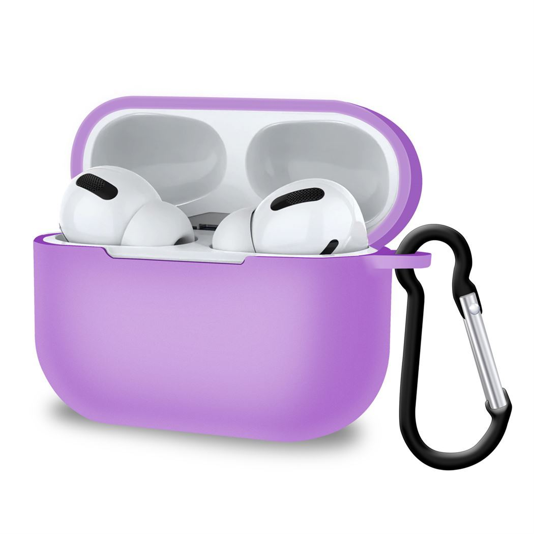 Light Purple AirPods Pro Case Cover Silicone Slim Holder With Hook, Headphone & Headset Accessories by TradeNRG