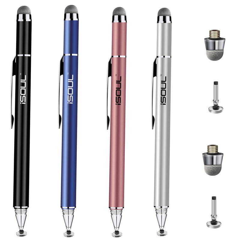 ISOUL Fine Tip Stylus Pen, Universal Capacitive Precise Disc Styli 2-in-1 [Pack of 1 selected Color] Touch Screen Pens with 2Pcs Replacement Tips for Smartphones, iPhone, iPad Mini, Pro, Galaxy, Note, Tab, Tablet Stylus - TradeNRG UK