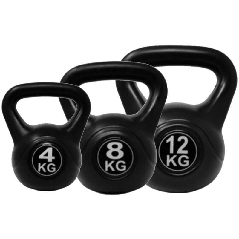 Vinyl Coated Gym Kettle Bells Weights Exercise Workout Cross Training Black - TradeNRG UK