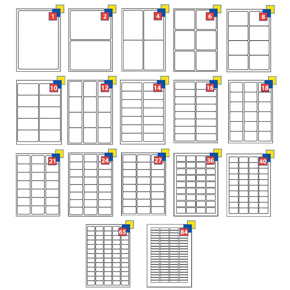Sticky Self Adhesive Compatible with Avery A4 Address Label 1-84 Per Sheet by  TradeNRG