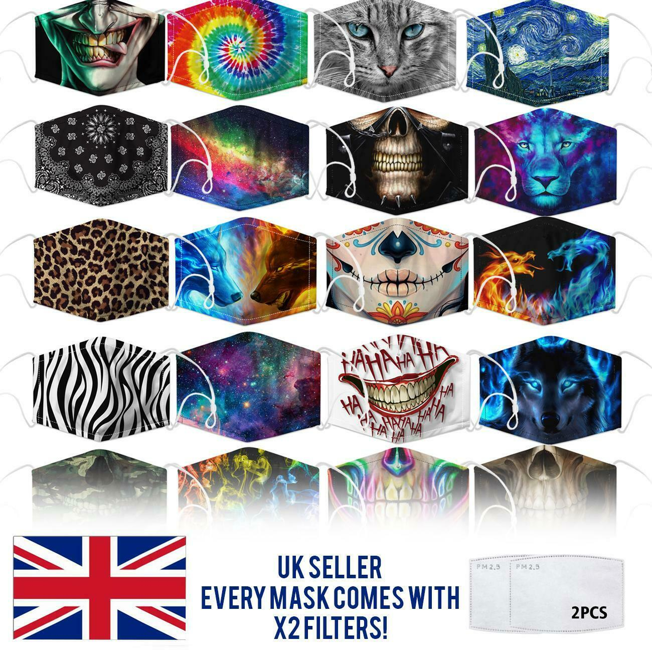 Face Mask Protective Covering Washable Reusable Unisex Replaceable Filter 3D UK by  TradeNRG