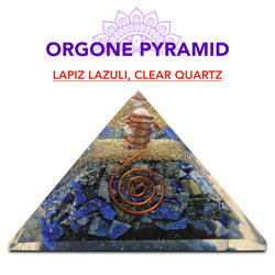 Lapis Lazuli, Clear Quartz, Healing Pyramid Orgone Crystal For Energy Aura Balancing Wellness Metaphysical EMF Protection Gemstone Chakra Balancing