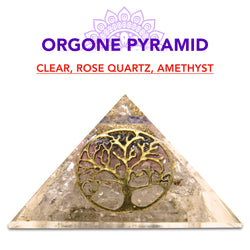 New Energy Generator Healing Clear Rose Quartz Amethyst Orgone Pyramid-Pyramid-TradeNRG UK