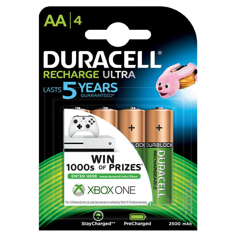 Duracell Recharge Ultra AA Rechargeable Batteries  2500 Mah Nimh, Hr6 Mn1500