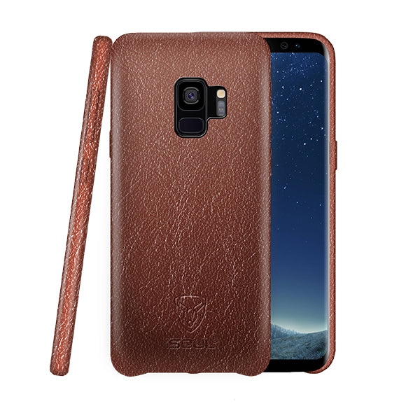 iSOUL Genuine Samsung S9 Leather Back Case Brown