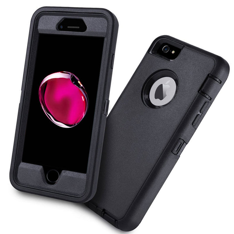 iSOUL Heavy Duty Military Grade Armor case Protective Case for iPhone 7 Black