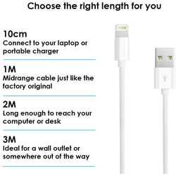 Apple USB Sync Charge Data Lead iPhone Lightning Cable 10 CM 1 M 2M 3M-Lightning Cable-TradeNRG UK