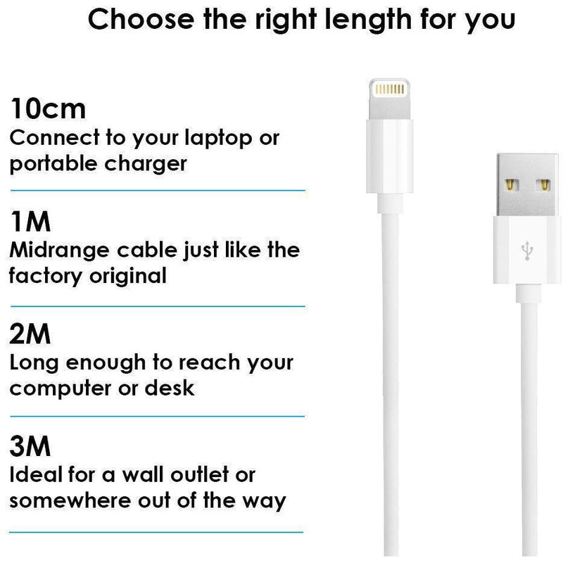 Usb Sync & Charger Data Lead Cable For Apple Iphone X 8 7 6 6S 5 Ipad 4 Air Mini - TradeNRG UK