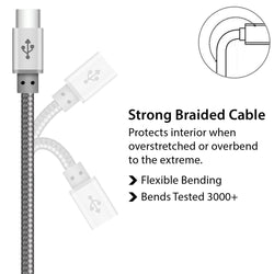 Buy iSOUL Premium Quality Braided Data Sync & Charge USB Type C Cable-USB CABLE-TradeNRG UK
