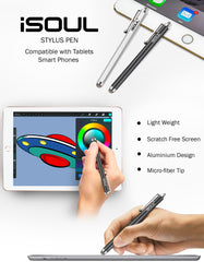 2x iSOUL Stylus Capacitive Touchscreen Micro Fiber Pen for Tablets & Smartphones Silver