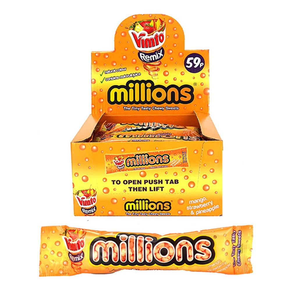 Vimto Remix Millions Mango Strawberry Pineapple Chewy Sweets, Food Items by TradeNRG