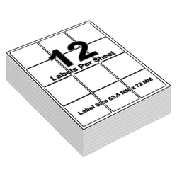 Address Labels Printable - 12 Labels per Sheet - 64mm x 72mm - iSOUL