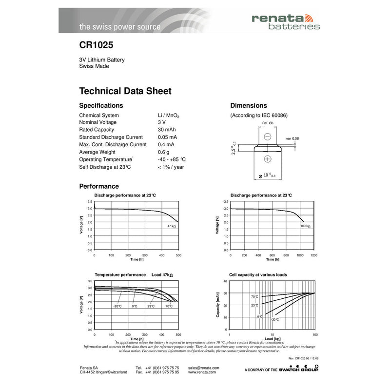 packn of 6 renata cr1025 technical data sheet