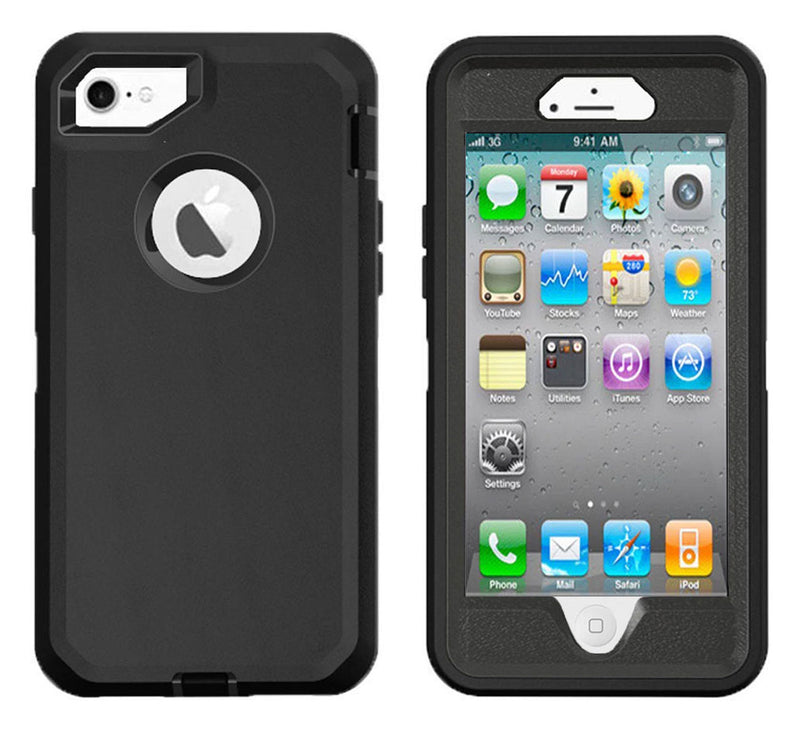 Case For Apple Iphone 4/4S, Heavy Duty Military Grade Armor Protective Case, Anti Shock Defender Cover Shell For Apple Iphone 4/4S - Black - TradeNRG UK