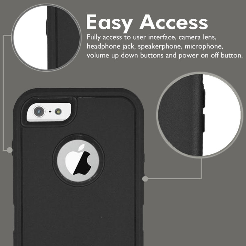 Case For Apple Iphone 6/6S Heavy Duty Military Grade Armor Protective Case, Anti Shock Defender Cover Shell For Apple 6/6S - Black - TradeNRG UK