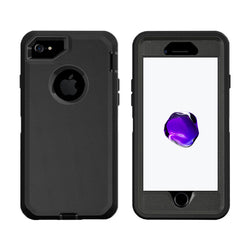 Case For Apple Iphone 8, Heavy Duty Military Grade Armor Protective Case, Anti Shock Defender Cover Shell For Apple Iphone 8 - Black - TradeNRG UK