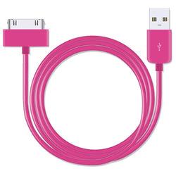 30-pin USB Data Sync Pink Cable 3 Metre for iPhone 4 - iSOUL
