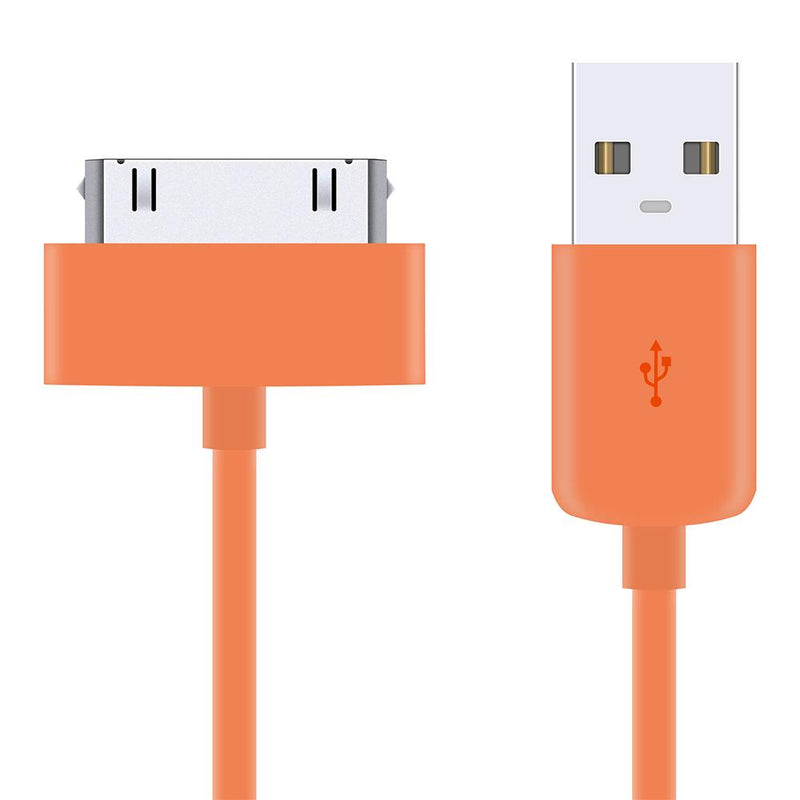 1M Data Sync & Charger Cable Lead for Apple iPhone iPad iPod - Orange-iPhone 4 cable-TradeNRG UK