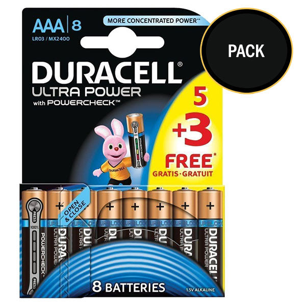 Duracell Ultra Power AAA Batteries Size 5+3 MX2400 Duralock Alkaline Packs - TradeNRG UK