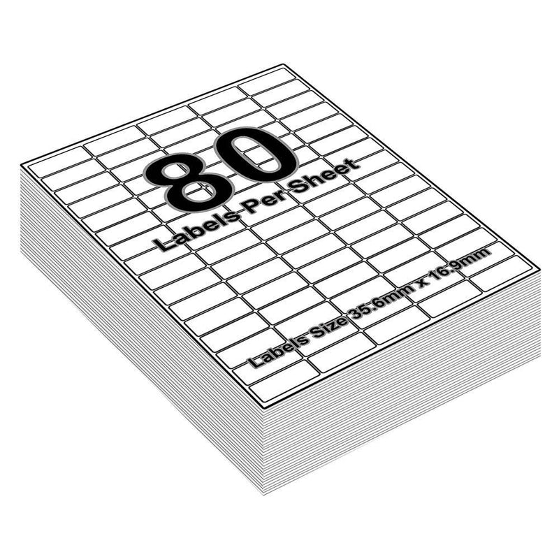 Sticky Address Labels - 80 Labels per Sheet - 36mm x 17mm - iSOUL