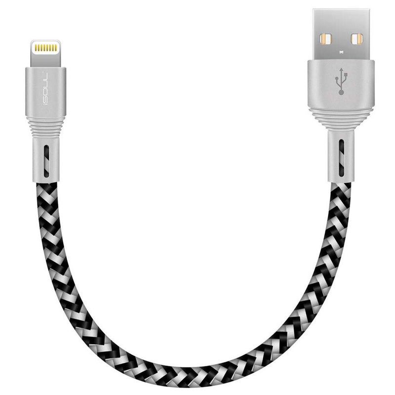 iSoul Nylon Braided Lightning USB Data Cable Apple MFI Certified 15CM-MFi Cables-TradeNRG UK