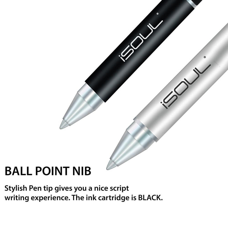 Solid Aluminium Stylus Gel Pen with Microfiber Capacitive Precise Disc - iSOUL