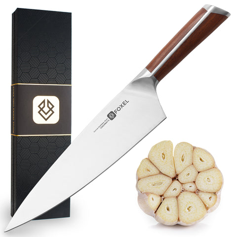 "FOX 8.5"" Chef Knife Sandal Wood Handle - FOXEL"