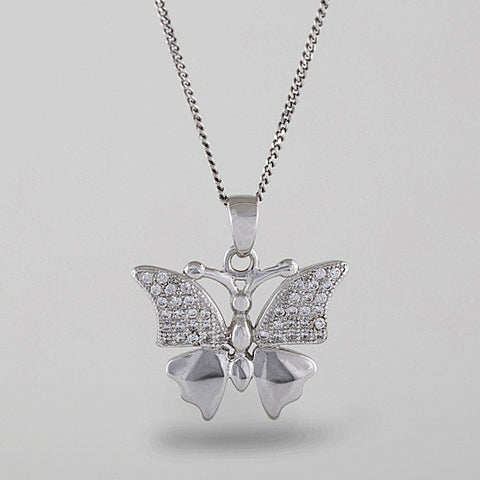 Butterfly Pendant Necklace - Silver with CZ Diamonds
