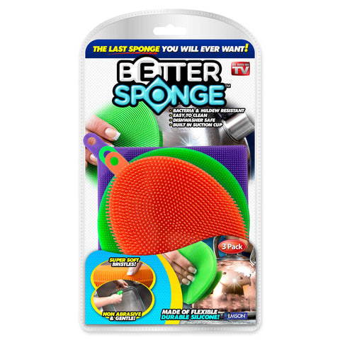 Homemax Better Clean Silicone Dishwashing Sponge Pack of 3