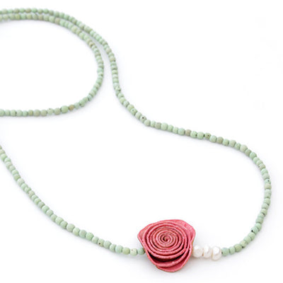 Orange Peel Long Necklace in Fuchsia & Mint Green