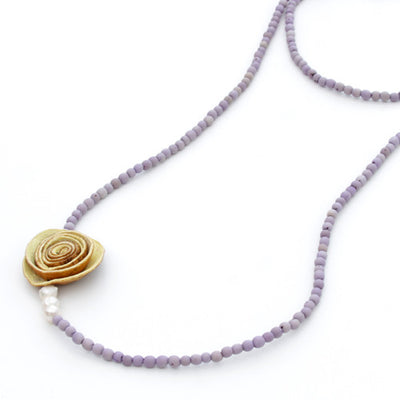 Orange Peel Long Necklace in Natural & Lilac