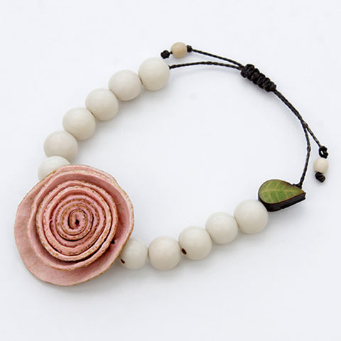 Orange Peel Bracelet in Coral Pink & Ivory