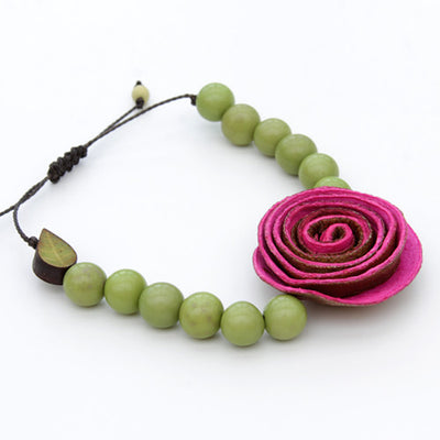 Orange Peel Bracelet - Green with Pink Rose
