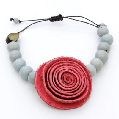 Orange Peel Bracelet - Light Blue with Red Rose