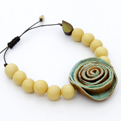 Orange Peel Bracelet - Yellow with Mint Green Rose