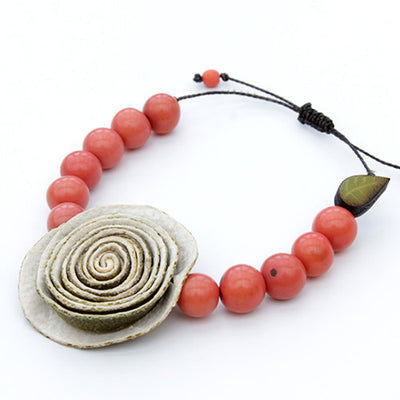 Orange Peel Bracelet - Coral Pink with Natural White Rose