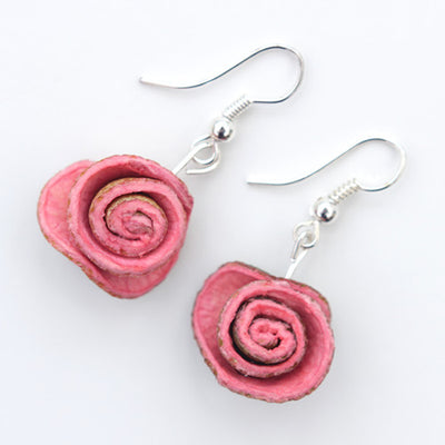 Orange Peel Earrings in Fuchsia