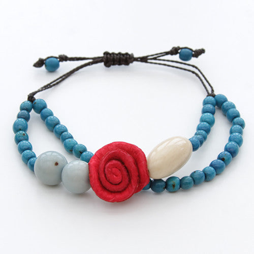 Orange Peel Bracelet - Blue with Red Rose