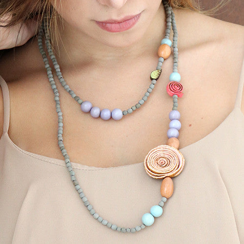 Orange Peel Long Necklace in Multicolour