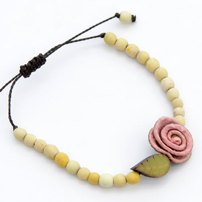 Orange Peel Bracelet - Yellow with Pink Rose