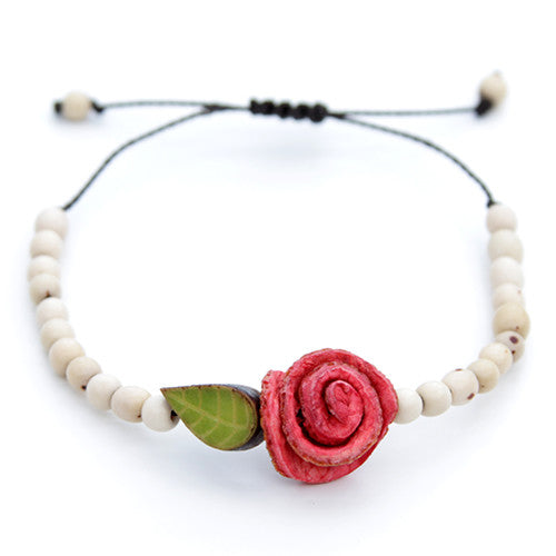 Orange Peel Bracelet - Natural White with Red Rose