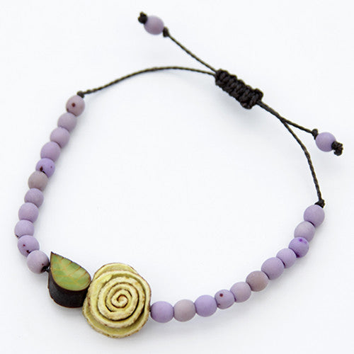 Orange Peel Bracelet - Lilac with Natural White Rose