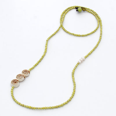 Orange Peel Necklace in Natural & Lemon