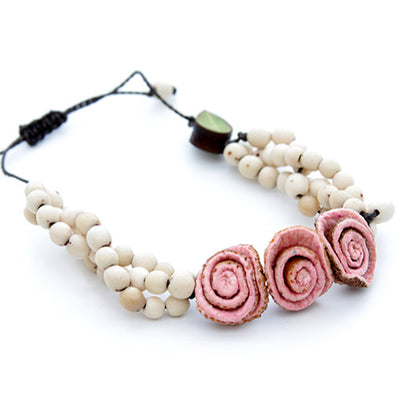 Orange Peel Bracelet - Natural White with Pink Roses