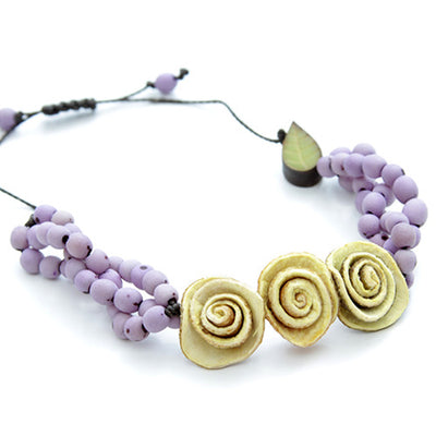 Orange Peel Bracelet in Natural & Lilac