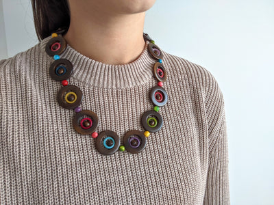 Arozalitus Tagua Necklace in Brown & Multicolour