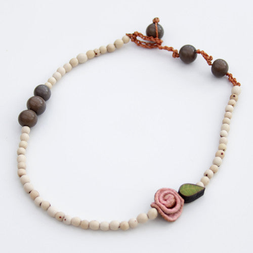 Orange Peel 2 in 1 Necklace & Bracelet in Coral Pink & Ivory